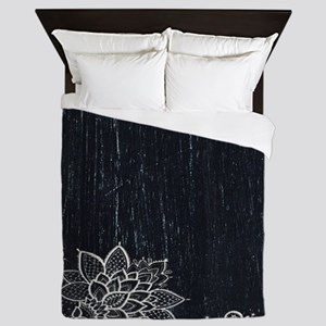 white lace black chalkboard Queen Duvet