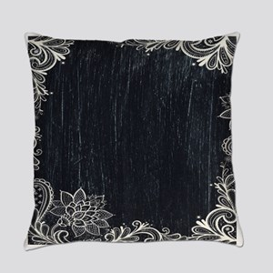 white lace black chalkboard Everyday Pillow