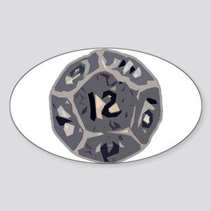 12 Sided Die Oval Sticker