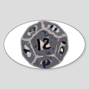 12 Sided Die Oval Sticker