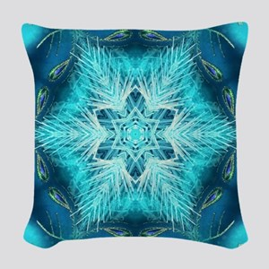 modern teal turquoise pattern Woven Throw Pillow