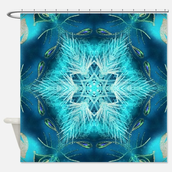 modern teal turquoise pattern Shower Curtain
