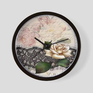 paris black lace white rose Wall Clock