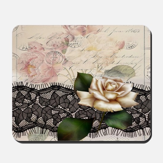 paris black lace white rose Mousepad