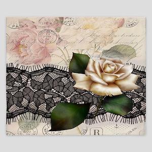 paris black lace white rose King Duvet