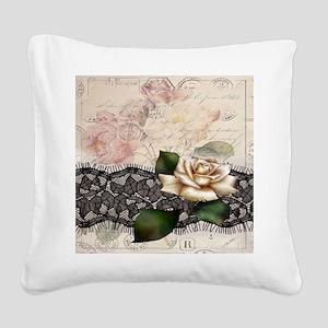 paris black lace white rose Square Canvas Pillow