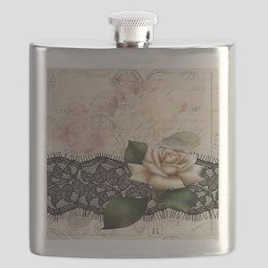 paris black lace white rose Flask