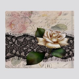 paris black lace white rose Throw Blanket