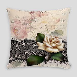 paris black lace white rose Everyday Pillow