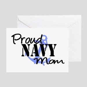 Proud Navy Mom Blue Anchor Greeting Cards (Pk of 2