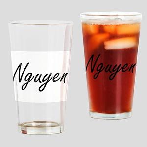 Nguyen surname artistic design Drinking Glass