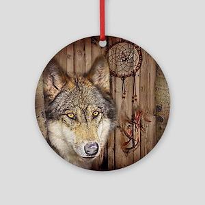 vintage Americana wild wolf  Round Ornament