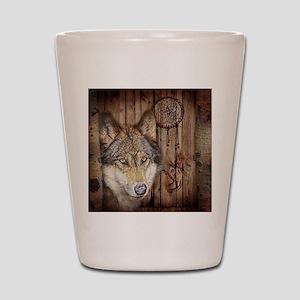 vintage Americana wild wolf  Shot Glass