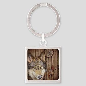 vintage Americana wild wolf  Square Keychain