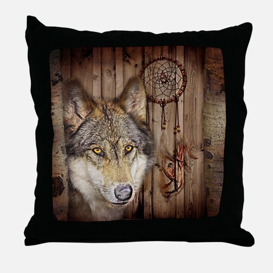 vintage Americana wild wolf  Throw Pillow