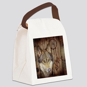 vintage Americana wild wolf  Canvas Lunch Bag