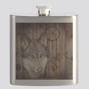 vintage Americana wild wolf  Flask