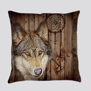 vintage Americana wild wolf  Everyday Pillow