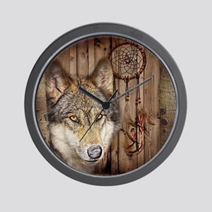 vintage Americana wild wolf  Wall Clock