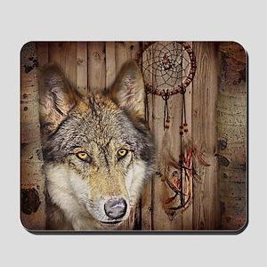 vintage Americana wild wolf  Mousepad