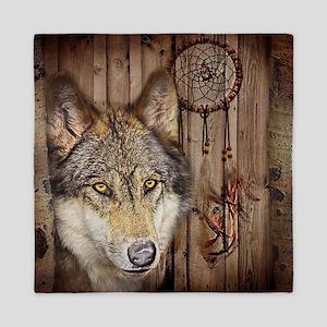 vintage Americana wild wolf  Queen Duvet
