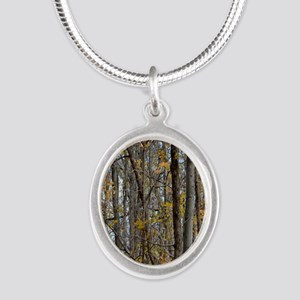 forest trees Camo Camouflage  Silver Oval Necklace