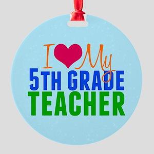 5th Grade Teacher Round Ornament