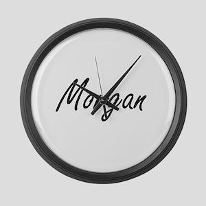 Morgan surname artistic design Large Wall Clock