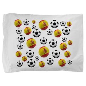 Spain Soccer Balls Pillow Sham