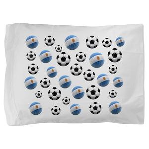 Argentina Soccer Balls Pillow Sham