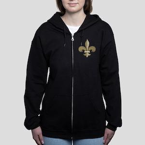 Fleur de lis black gold Women's Zip Hoodie