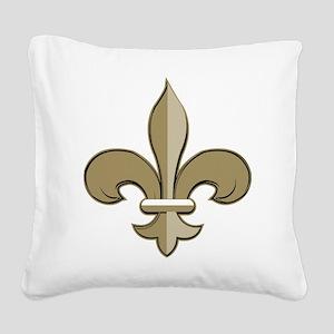 Fleur de lis black gold Square Canvas Pillow