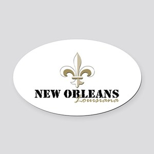 New Orleans Louisiana gold Oval Car Magnet