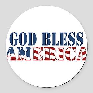 God Bless America Round Car Magnet