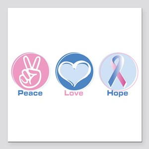 "Peace Love BlPk Hope Square Car Magnet 3"" x 3"""