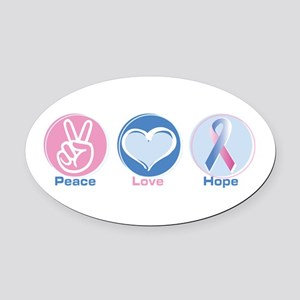 Peace Love BlPk Hope Oval Car Magnet