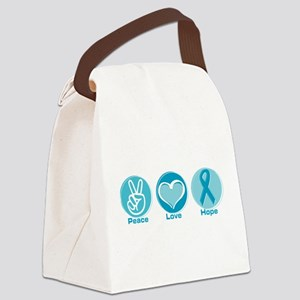 Peace Love Teal Hope Canvas Lunch Bag