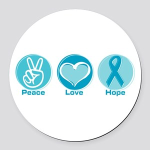 Peace Love Teal Hope Round Car Magnet