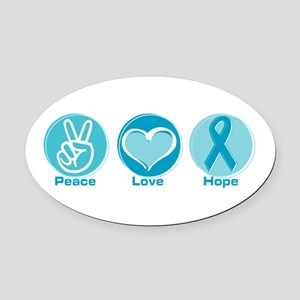Peace Love Teal Hope Oval Car Magnet