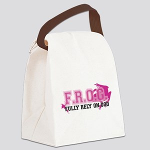 FROG pink Canvas Lunch Bag