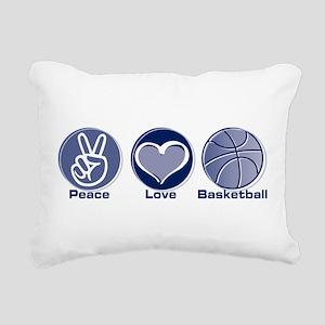 Peace Love Basketball Rectangular Canvas Pillow