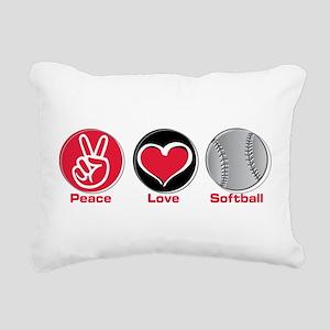 Peace Love Softball red Rectangular Canvas Pillow