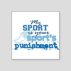 "Sport Punishment Blue Square Sticker 3"" x 3"""