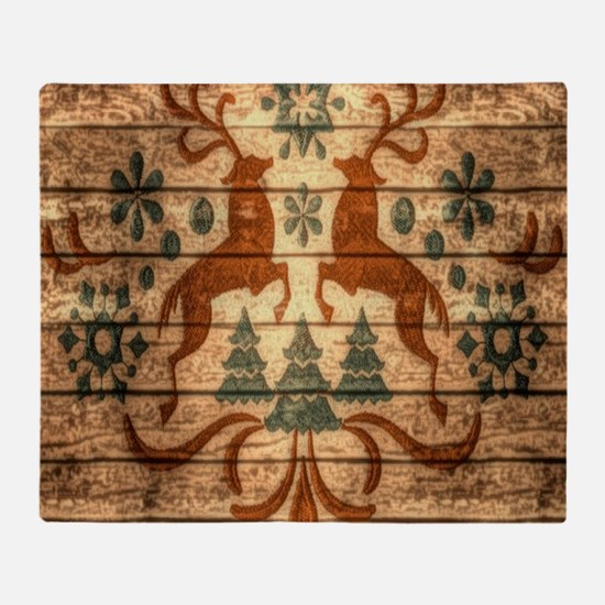 vintage scandinavian christmas reind Throw Blanket