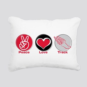 Peace Love Track Red Rectangular Canvas Pillow