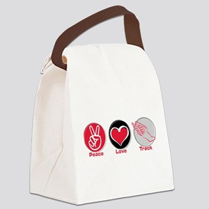 Peace Love Track Red Canvas Lunch Bag