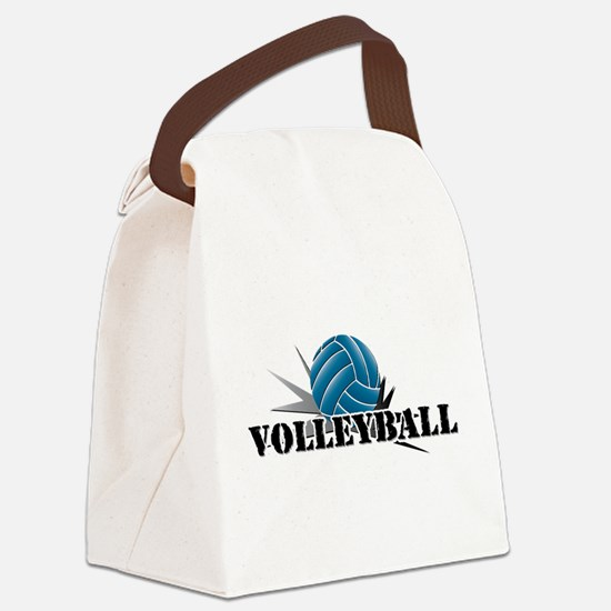 Unique Volleyball dig set hit block win Canvas Lunch Bag