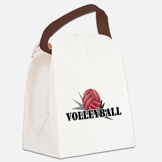 Cute Volleyball dig set hit block win Canvas Lunch Bag