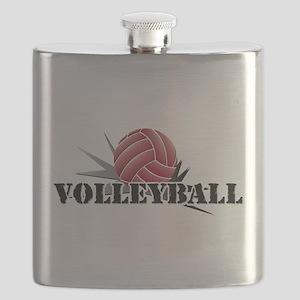 Volleyball starburst red Flask