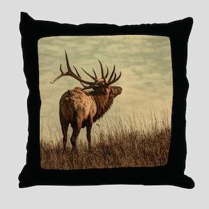 rustic western wild elk Throw Pillow